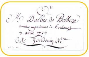 Jean François Denis Dalbi de belvèze-Maison Laffont-Thil-Le Mouillas