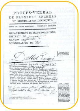 Denis Dalbis-émigré-procès verbal de première enchère
