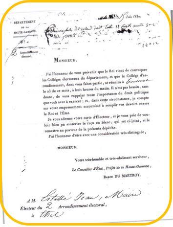 Convocation de Jean Estellé en 1830