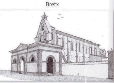 Gravure de l'église de Bretx , collection de Mr JL Frapech