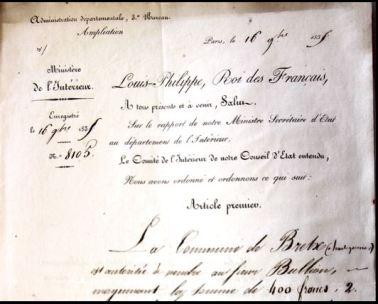 Décret de Louis Philipe contre signé par Adolphe Thiers au profit de l'église de Btretx.