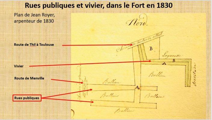 Les rues publics et et le vivier dans le Fort de Bretx en 1830