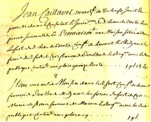Possessions de Jean caillavel dans le fort de Bretx